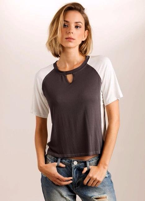 POL Color Block Crop Top - Charcoal