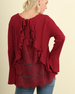 Umgee Back Lace & Ruffle Bell Sleeve Plus Top