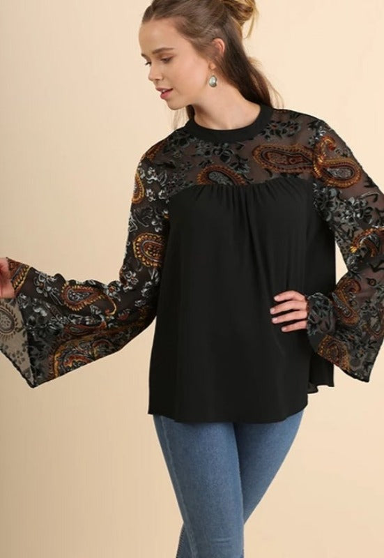 Umgee Velvet Burnout Bell Sleeve Blouse - Black