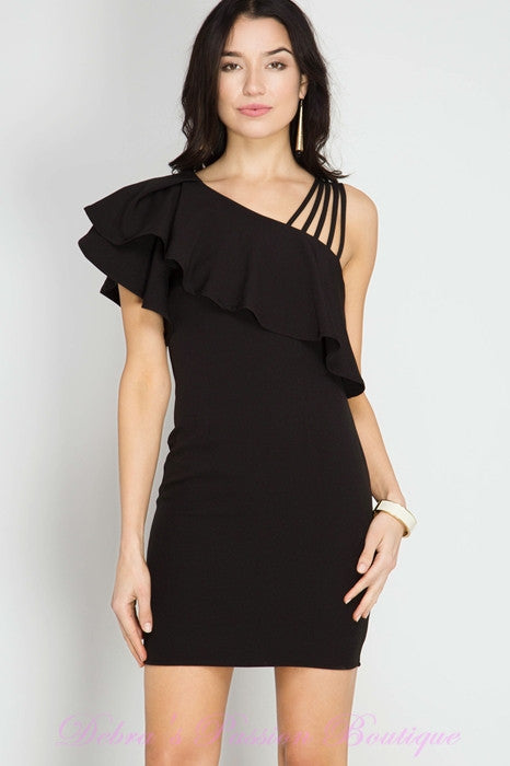 Bodycon Strappy One Shoulder Ruffle Dress - Black