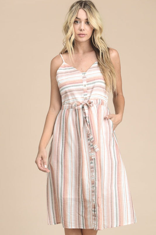 Multi Stripe Button Down Pockets Dress - Salmon