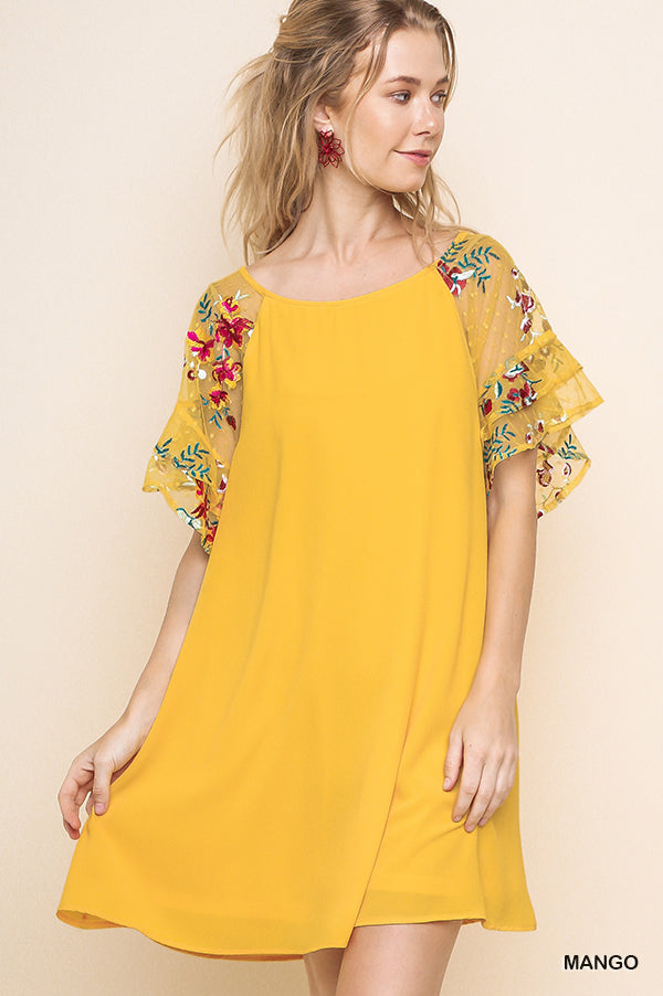 Umgee Embroidery Sleeve Shift Dress - Mango Mix