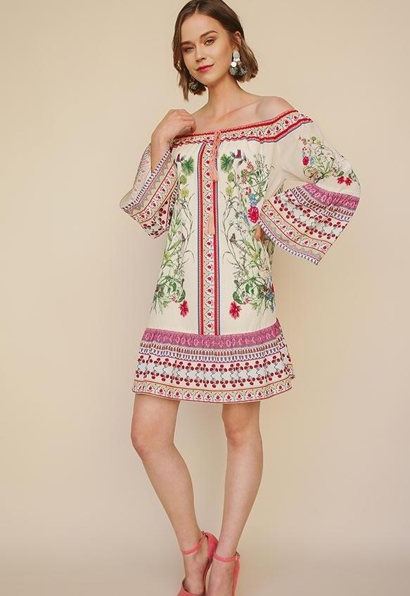 Umgee Border Bell Sleeve Dress - Natural