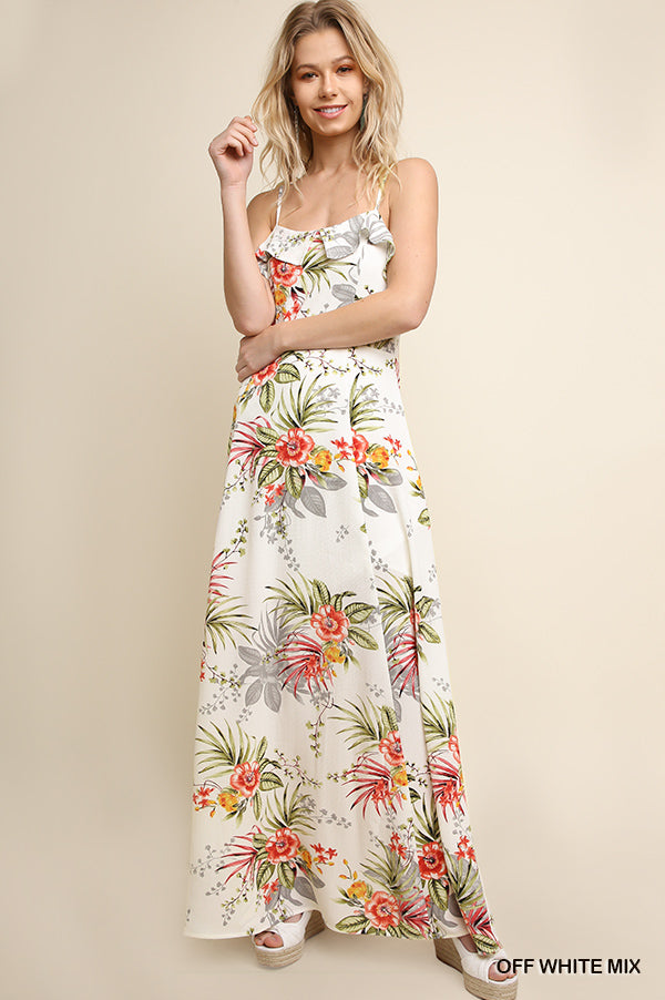 Umgee Tropical Maxi Dress - Off White Mix