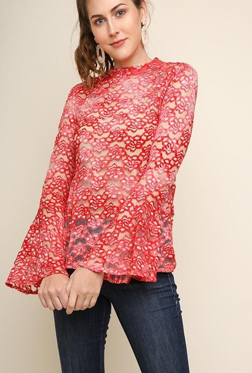 Umgee Retro Vintage Sheer Lace Top - Red Pink