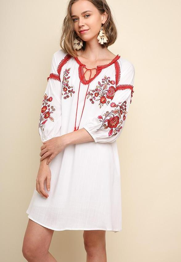 Umgee Red White Embroidered Dress - Off White