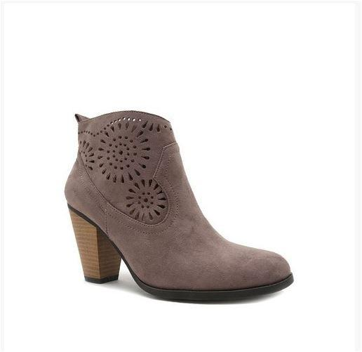 Tread with Me Mandala Cut Out Suede Booties Boots - Taupe - Debra's Passion Boutique - 1
