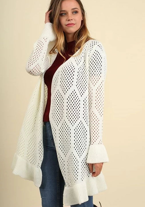 Umgee Sleek Crochet Cardigan Sweater - Ivory