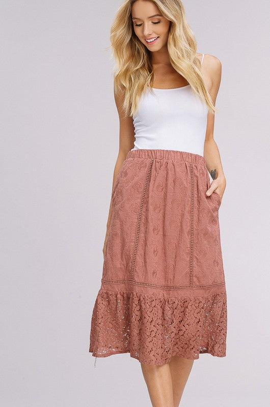 Embroidered Roses & Lace Midi Skirt - Dried Rose