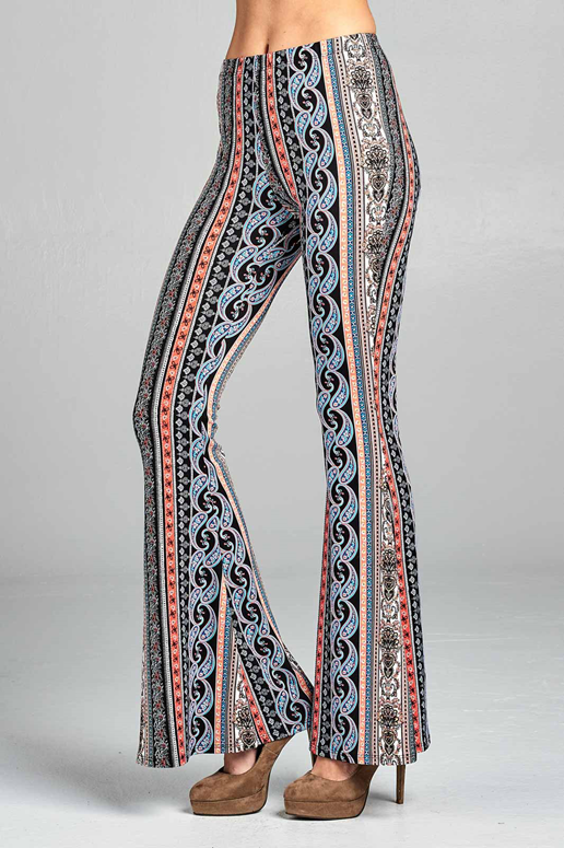 Paisley Soft Skinny Bell Bottom Pants - Coral
