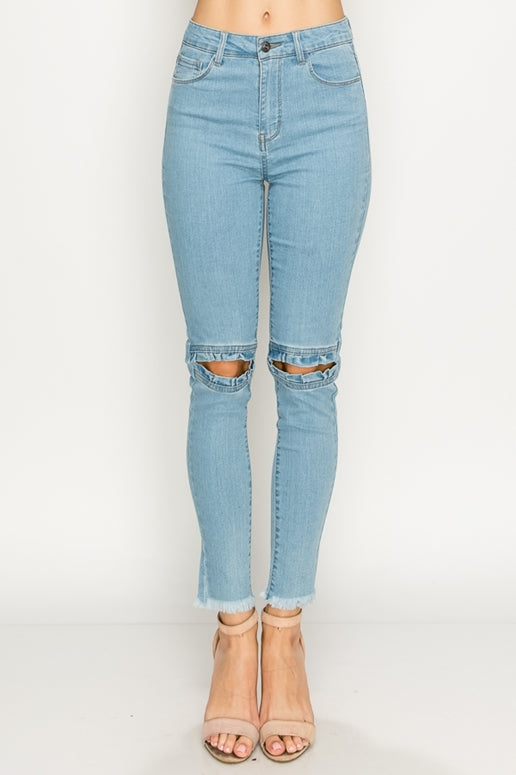 Ruffle Peek A Boo Skinny Jeans - Light Wash