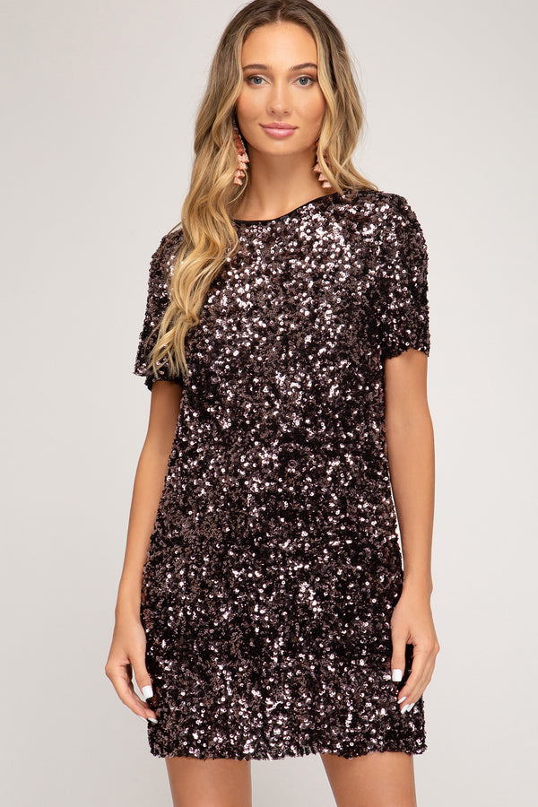 She + Sky Sequin Mini Dress - Plum