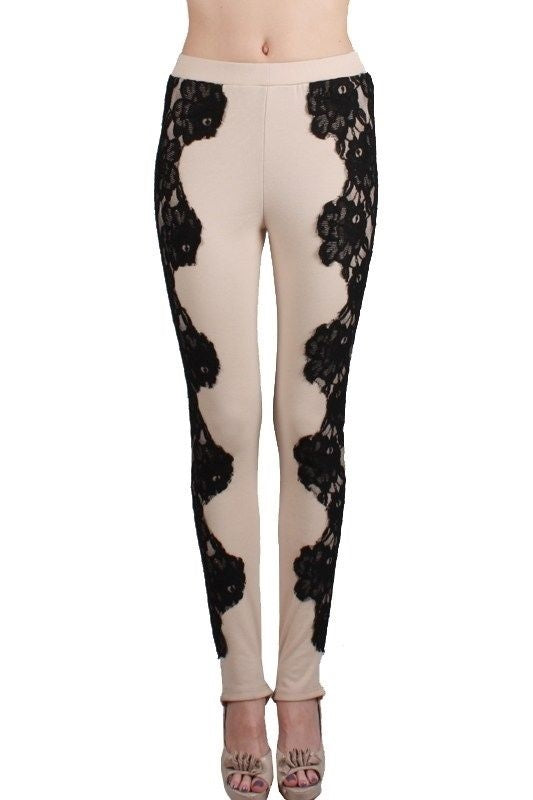 Romantic Lace Cocktail Stirrup Pant Leggings - RYU - Lt Beige