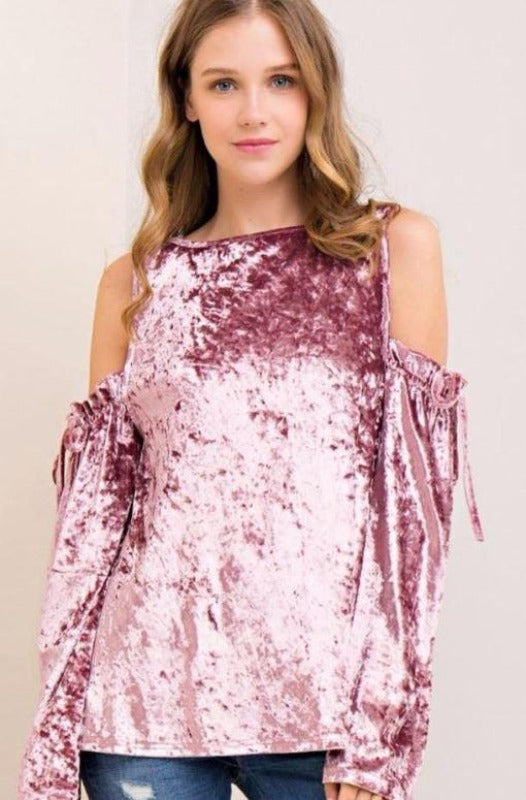 Entro Velvet Open Shoulder Blouse - Dusty Purplish Pink
