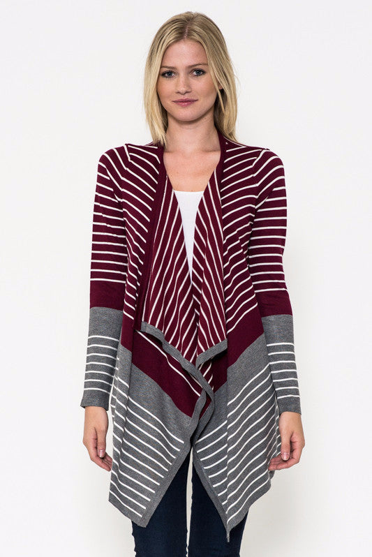 Just Takin It In Stripes Knit Sweater Cardigan