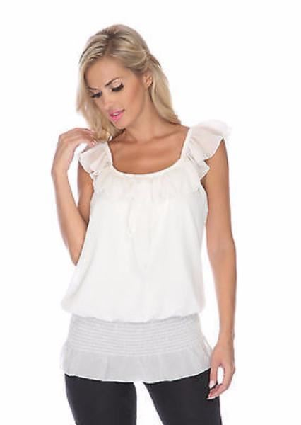 Ruffle Neckline Sleeveless Blouse - White