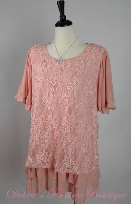 Lady Noiz Floral Ruffle Tunic- Peachy Pink