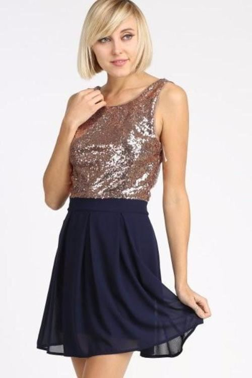 Fit N Flare Bronze Sequin Navy Dress