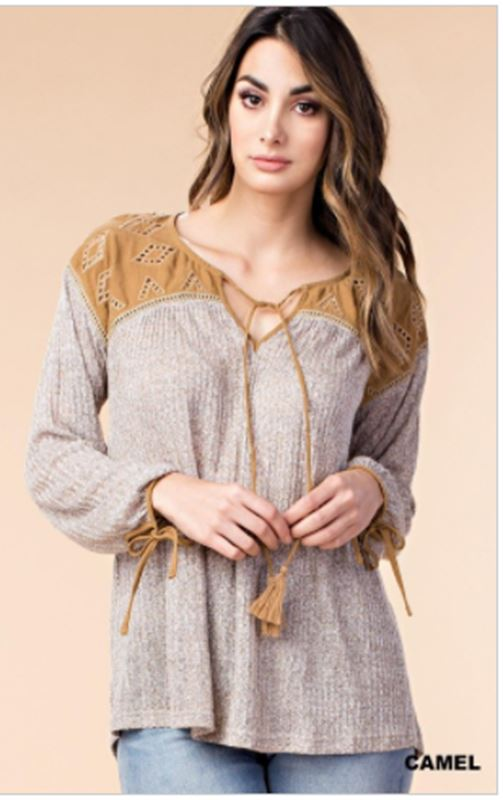 Kori Soft Melodrama Knit Top  - Camel