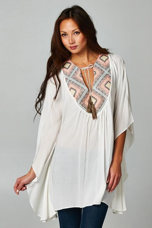 Love Stitch Embroidered Kimono Top - Mauve