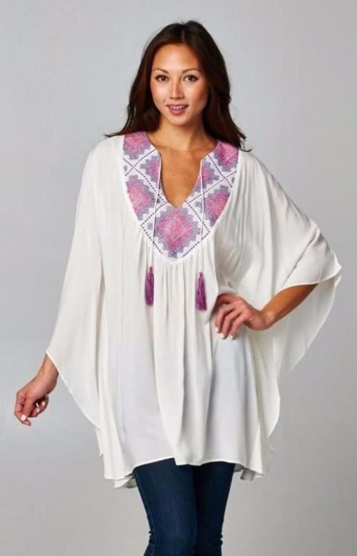 Love Stitch Embroidered Kimono Top - Magenta