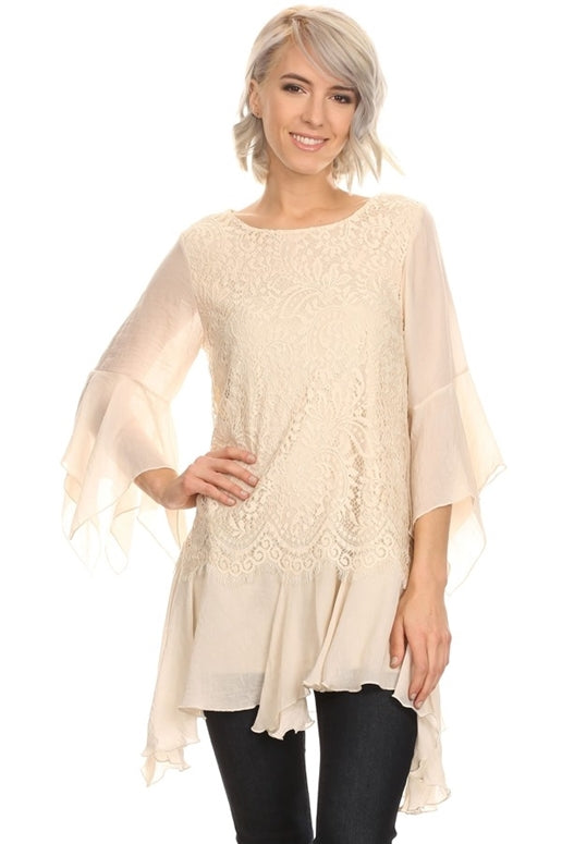 Sassy Bling Shark Bite Lace Layer Tunic - Beige