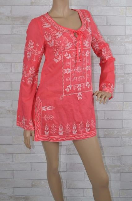 Monoreno Embroidered Cotton Tunic - Coral