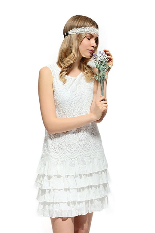 Shabby Chic Eyelash Lace Ruffle Dress - White