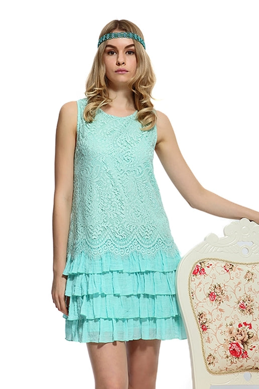 Shabby Chic Eyelash Lace Ruffle Dress - Mint