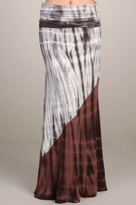 Chatoyant Charcoal/Chestnut Duo Fabric Tie Dye Maxi Skirt