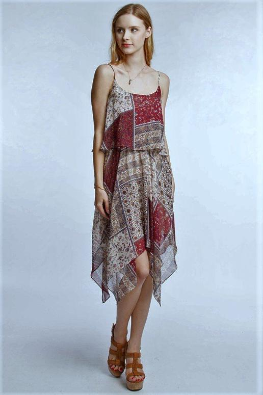 Patchwork Boho Handkerchief Hem Dress