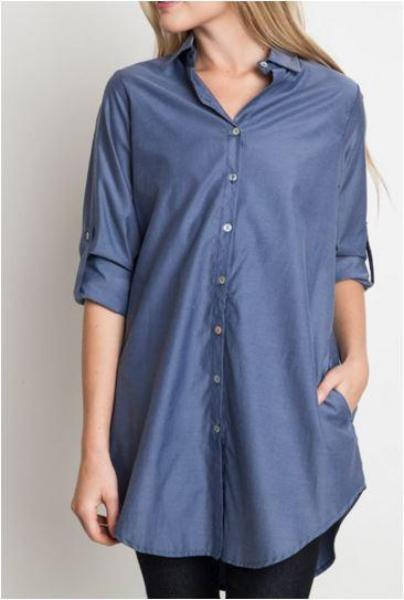 Collared Button Down Tunic Shirt Top - Umgee -Denim Blue