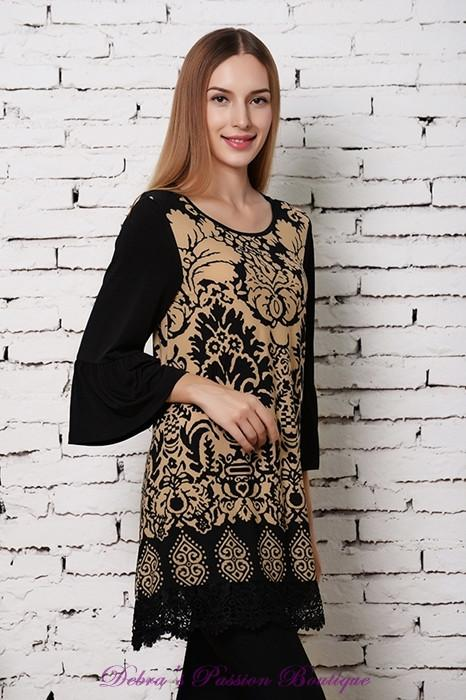 Sassy Bling Damask Scroll Tunic Top - Mocha - Debra's Passion Boutique - 1