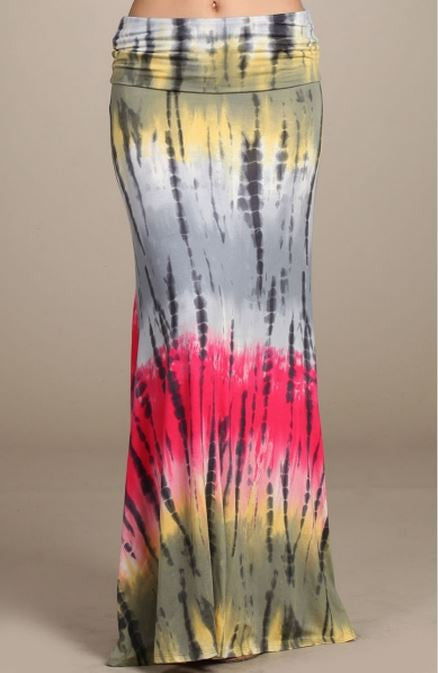 Chatoyant Tie Dye Multi Colors Fold Waist Maxi Skirt