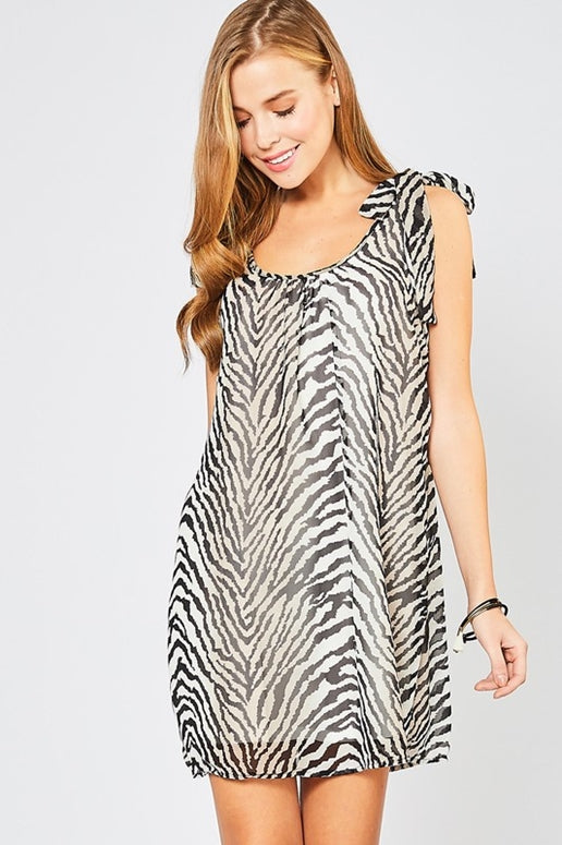 Entro Sheer Zebra Shift Dress