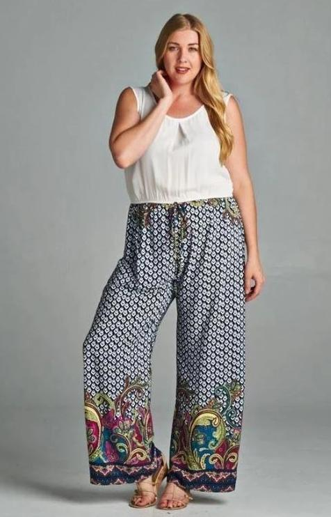 Tall Swirly Girl Plus Size Jumpsuit-Tua-Navy Multi-Purple & White - Debra's Passion Boutique - 1