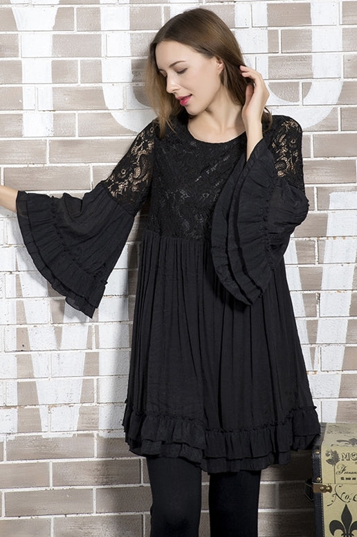 Sassy Bling Lace Ruffle Dress - Black