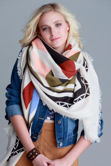 Frayed Blanket Scarf/Shawl - Tribal - Multi - Debra's Passion Boutique - 1
