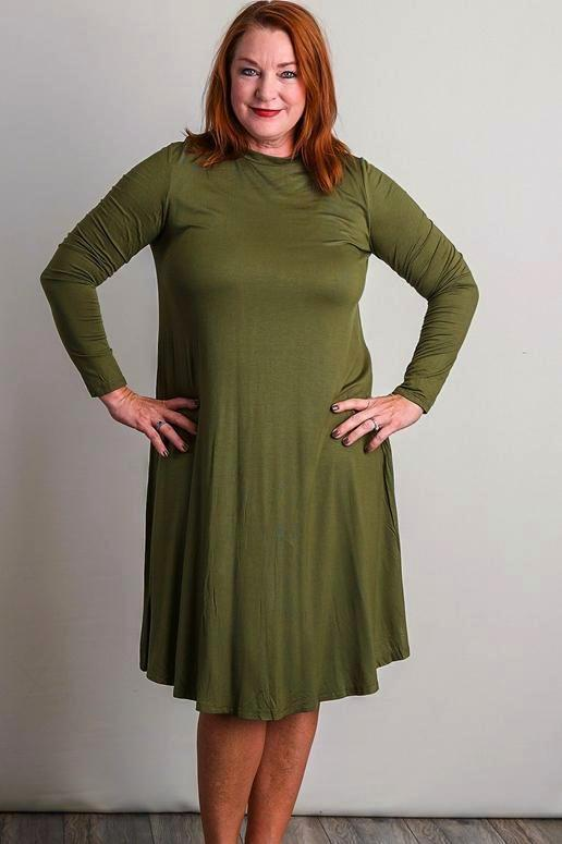 Reborn J Close Neck Midi Plus Dress - Olive