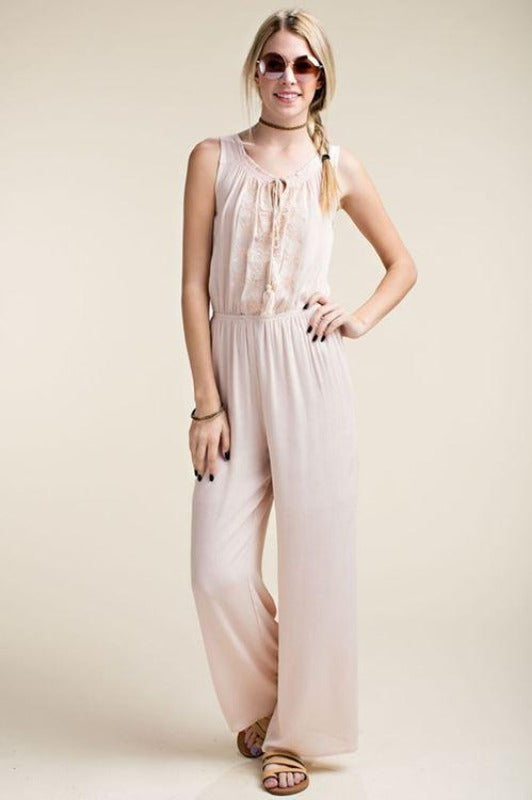 Casual Embroidered Jumpsuit - Light Pink