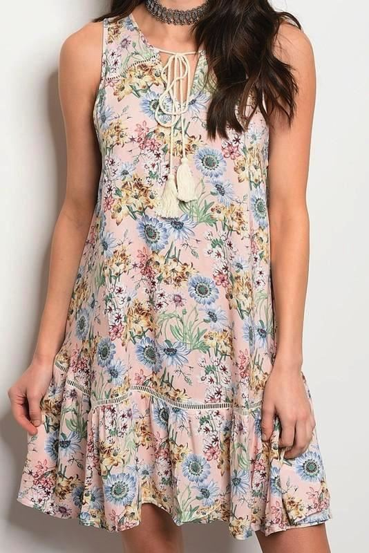 Tassels N Lace Boho Floral Tassel Dress - Blush
