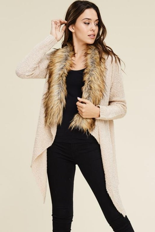 Fur Trim Waterfall Sweater - Oatmeal
