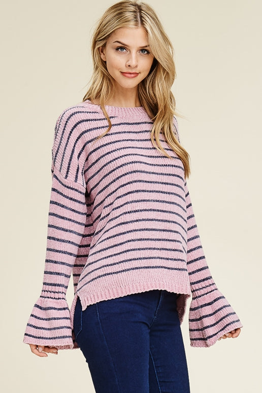 Chenille Stripe Sweater - Rose Charcoal