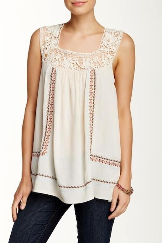Love Stitch Shabby Chic Embroidered Tank