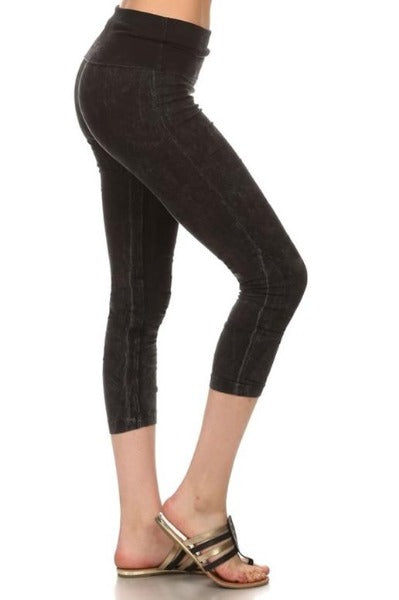 Chatoyant Foldover Waist Capri Legging Pants - Many Colors