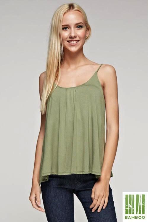 Keep it Natural Bamboo Solid Tank Top - Red, Olive - Debra's Passion Boutique - 3