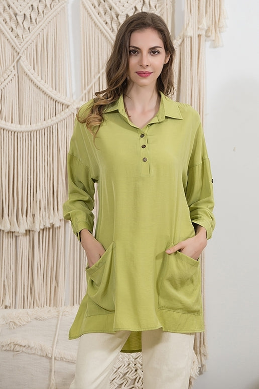 Sassy Bling Oversize Pocket Tunic - Lime Green