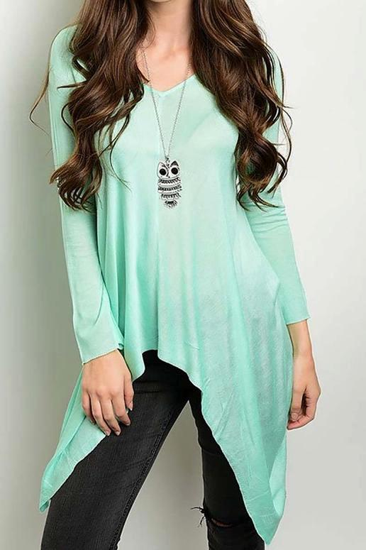 Ciel Asymmetrical Sheer Sweater Tunic - Mint Green