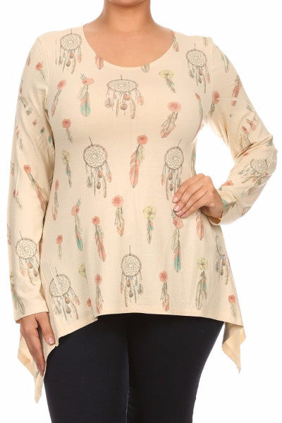 Dreamcatcher Print Plus LS Top - Cream