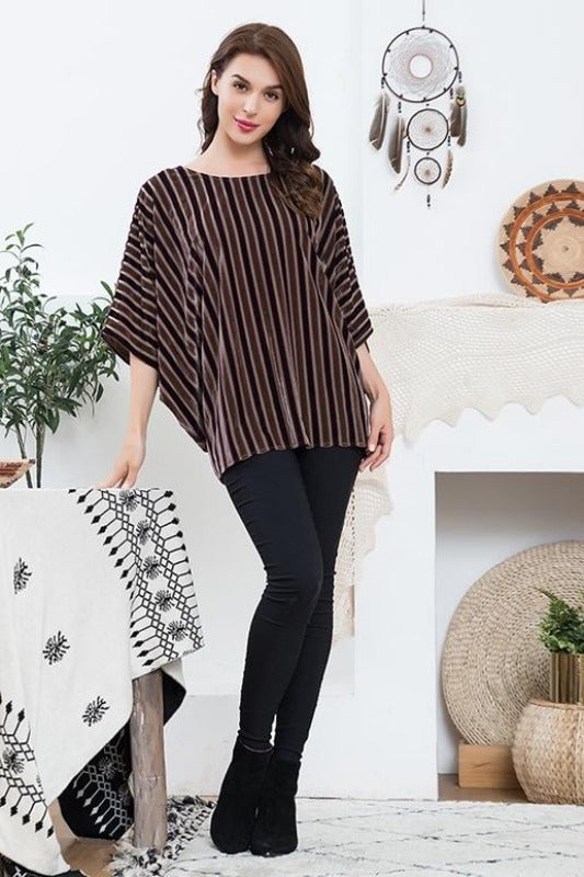 Sassy Bling Velvet Stripes Top - Brown